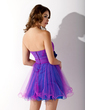 Empire Sweetheart Short/Mini Tulle Homecoming Dress With Ruffle Beading Flower(s) (022009670)