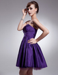 A-Line/Princess Sweetheart Short/Mini Taffeta Homecoming Dress With Ruffle (022021072)