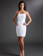 Sheath/Column Strapless Short/Mini Taffeta Homecoming Dress With Ruffle Flower(s) Bow(s) (022009536)