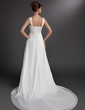 A-Line/Princess Sweetheart Court Train Satin Chiffon Wedding Dress With Ruffle Beading Appliques Lace (002016735)