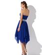 Linia A/Księżniczka Kochanie Asymetryczna Chiffon Lace Sukienka na Zjazd Absolwentów Z Żabot Perełki (022010996)