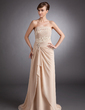 A-Line/Princess Strapless Sweep Train Chiffon Mother of the Bride Dress With Lace Beading Cascading Ruffles (008005623)