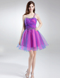A-Line/Princess One-Shoulder Short/Mini Tulle Homecoming Dress With Ruffle Beading (022008125)