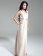 A-Line/Princess Scoop Neck Floor-Length Satin Bridesmaid Dress With Ruffle Bow(s) (007014859)