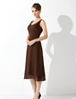 A-Line/Princess V-neck Knee-Length Chiffon Bridesmaid Dress With Beading (007002110)