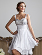 A-Line/Princess Sweetheart Knee-Length Chiffon Sequined Homecoming Dress With Ruffle (022010318)
