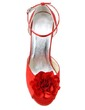 Women's Satin Stiletto Heel Peep Toe Pumps Sandals With Buckle Satin Flower (047039636)