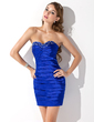 Sheath/Column Sweetheart Short/Mini Charmeuse Cocktail Dress With Ruffle Beading (016008458)