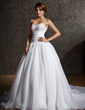 Ball-Gown Sweetheart Chapel Train Satin Organza Wedding Dress With Lace Beading (002011600)