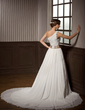 A-Line/Princess One-Shoulder Chapel Train Chiffon Wedding Dress With Ruffle Sash Beading Flower(s) (002011564)