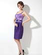 Sheath/Column Sweetheart Knee-Length Taffeta Mother of the Bride Dress With Ruffle Beading Appliques Lace (008006183)