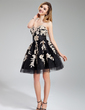 A-Line/Princess Sweetheart Short/Mini Tulle Homecoming Dress With Ruffle Beading Appliques Lace (022019176)