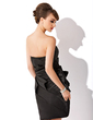 Sheath/Column Strapless Knee-Length Charmeuse Homecoming Dress With Ruffle (022009439)