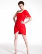 Wąska Jednoramienna Krótka/Mini Chiffon Sukienka na Zjazd Absolwentów Z Żabot (022009013)