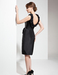 Sheath/Column Scoop Neck Knee-Length Taffeta Cocktail Dress With Ruffle (016005851)