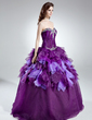 Ball-Gown Sweetheart Floor-Length Organza Quinceanera Dress With Beading Cascading Ruffles (021016027)