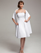 A-Line/Princess Knee-Length Satin Bridesmaid Dress With Beading (007020635)