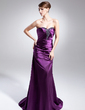 Sheath/Column Sweetheart Sweep Train Charmeuse Evening Dress With Ruffle Beading (017014996)
