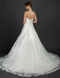 Ball-Gown Sweetheart Cathedral Train Charmeuse Tulle Wedding Dress With Ruffle Beading Appliques Lace (002015372)