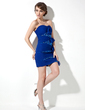 Sheath/Column Sweetheart Short/Mini Chiffon Sequined Cocktail Dress With Ruffle Bow(s) (016020915)