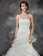 Ball-Gown Sweetheart Court Train Organza Wedding Dress With Lace Beading Cascading Ruffles Pleated (002017427)