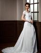A-Line/Princess Scoop Neck Chapel Train Taffeta Wedding Dress With Ruffle Lace Beading (002012077)