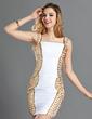 Sheath/Column Square Neckline Short/Mini Chiffon Cocktail Dress With Ruffle Beading (016019144)