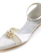 Women's Satin Flat Heel Closed Toe Flats With Imitation Pearl (047039656)