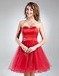 Linia A/Księżniczka Kochanie Do Kolan Satin Tulle Sukienka na Zjazd Absolwentów Z Perełki (022015506)