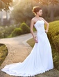 A-Line/Princess Sweetheart Court Train Chiffon Satin Wedding Dress With Ruffle Beading Appliques Lace Sequins (002004588)