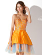 A-Line/Princess Sweetheart Short/Mini Taffeta Homecoming Dress With Beading Sequins (022010167)