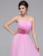 A-Line/Princess Strapless Floor-Length Chiffon Bridesmaid Dress With Sash Flower(s) (007037257)