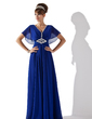 A-Line/Princess V-neck Floor-Length Chiffon Evening Dress With Ruffle Beading (017013417)