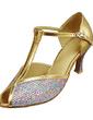 Kadın Suni deri Köpüklü Glitter Topuk Sandalet Latin Ile T-Askı Dans Ayakkabıları (053013310)