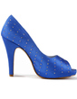 Women's Satin Cone Heel Peep Toe Platform Sandals With Rhinestone (047011057)