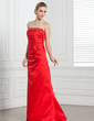 Sheath/Column Strapless Floor-Length Satin Bridesmaid Dress With Ruffle Beading (007001047)