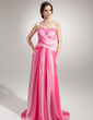 A-Line/Princess Sweetheart Court Train Chiffon Evening Dress With Ruffle Beading Split Front (017004346)