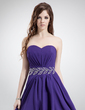 A-Line/Princess Sweetheart Asymmetrical Chiffon Prom Dress With Ruffle Beading (018022777)