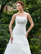 A-Line/Princess Strapless Cathedral Train Organza Wedding Dress With Ruffle Beading (002001289)
