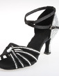 Women's Satin Heels Sandals Latin With Ankle Strap Dance Shoes (053026931)