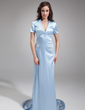 Sheath/Column V-neck Court Train Charmeuse Mother of the Bride Dress (008006067)