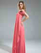 A-Line/Princess One-Shoulder Floor-Length Chiffon Bridesmaid Dress With Cascading Ruffles (007019609)