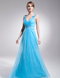 A-Line/Princess V-neck Floor-Length Tulle Prom Dress With Ruffle Beading (018021131)