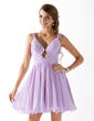 A-Line/Princess V-neck Short/Mini Chiffon Homecoming Dress With Ruffle Beading Sequins (022020919)