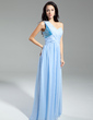 A-Line/Princess One-Shoulder Floor-Length Chiffon Sequined Evening Dress With Ruffle Beading (017014930)