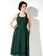 A-Line/Princess Halter Knee-Length Chiffon Bridesmaid Dress With Ruffle Bow(s) (007001892)