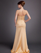 Sheath/Column Strapless Sweep Train Satin Bridesmaid Dress (007000865)