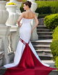 Trumpet/Mermaid Strapless Watteau Train Satin Wedding Dress With Sash Beading Appliques Lace (002011613)