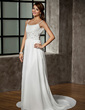 A-Line/Princess Scoop Neck Chapel Train Chiffon Wedding Dress With Ruffle Beading Sequins (002011441)