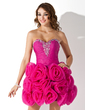 A-Line/Princess Sweetheart Short/Mini Organza Homecoming Dress With Ruffle Beading Flower(s) (022021013)